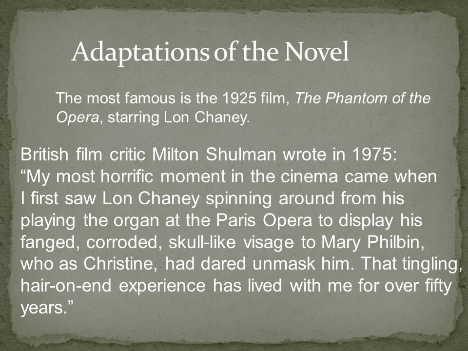 The most famous is the 1925 film, The Phantom of the Opera, starring Lon Chaney.