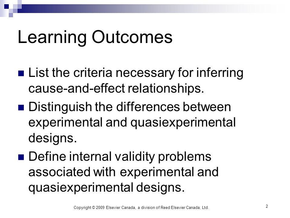 2 Learning Outcomes List the criteria necessary for inferring cause-and-effect relationships.