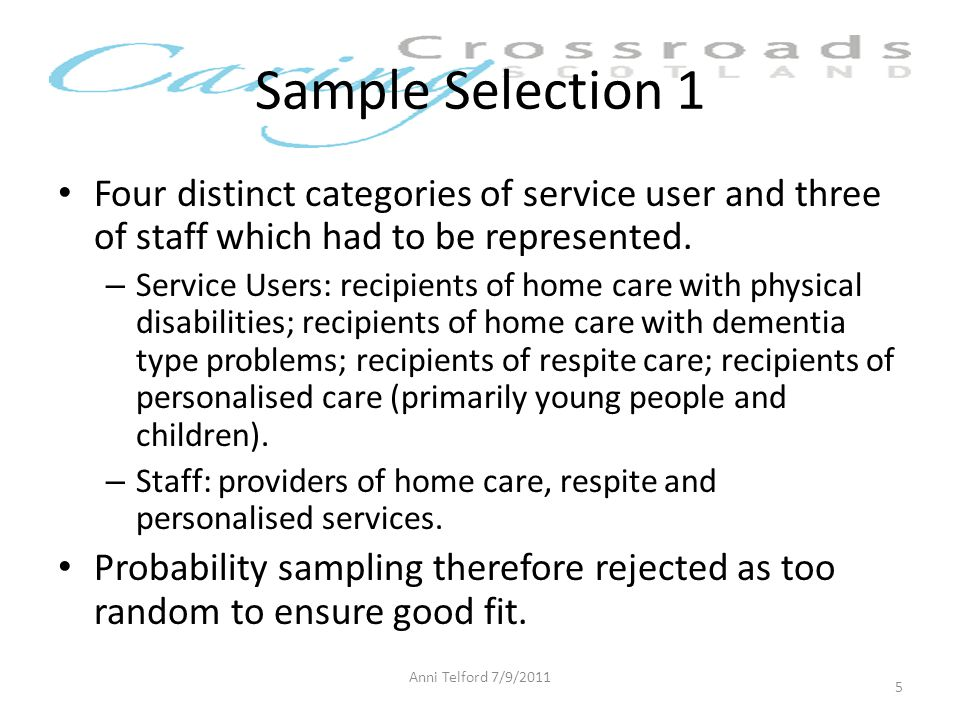 Sample Selection 1 Four distinct categories of service user and three of staff which had to be represented.