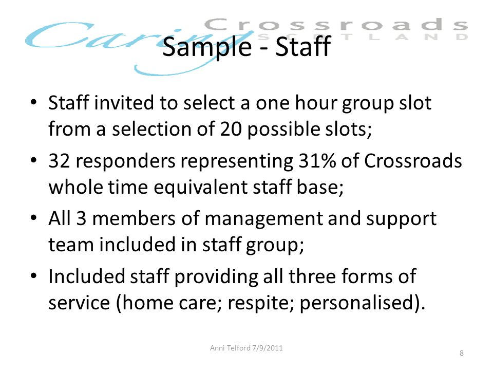 Sample - Staff Staff invited to select a one hour group slot from a selection of 20 possible slots; 32 responders representing 31% of Crossroads whole