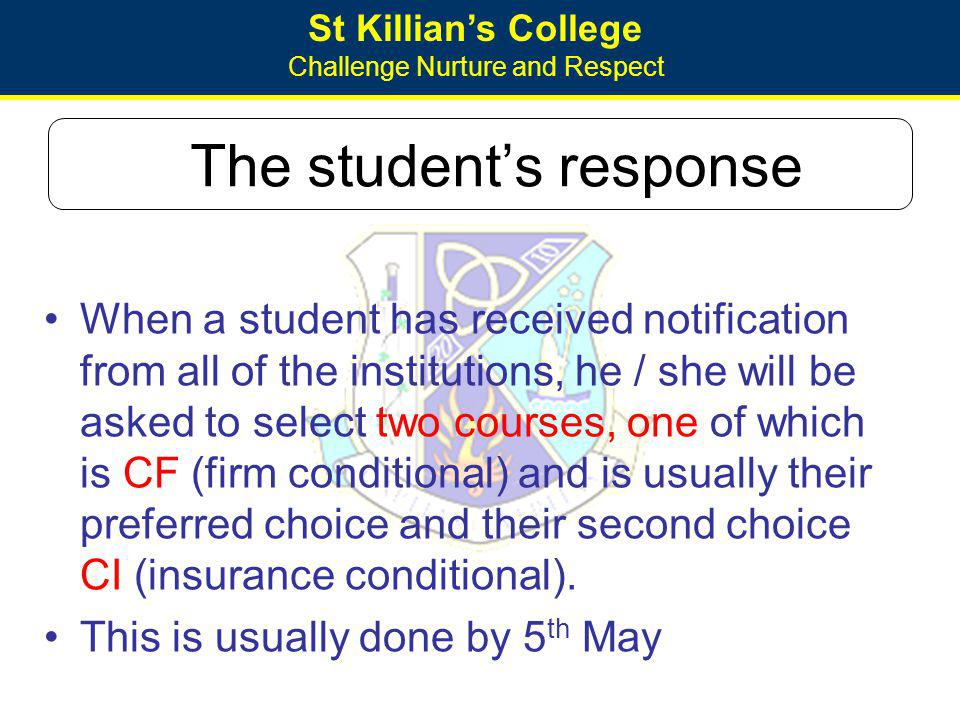 St Killians College Challenge Nurture and Respect The students response When a student has received notification from all of the institutions, he / sh