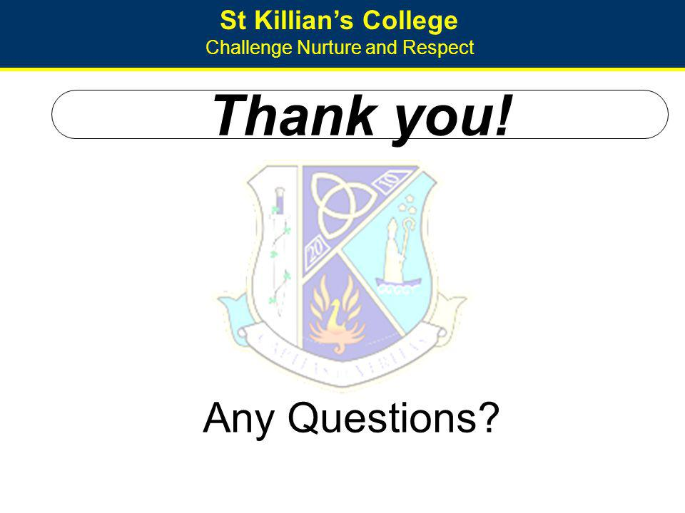 St Killians College Challenge Nurture and Respect Thank you! Any Questions?
