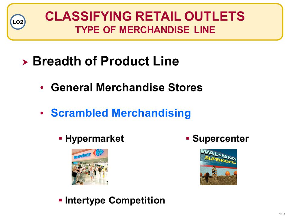 Breadth of Product Line CLASSIFYING RETAIL OUTLETS TYPE OF MERCHANDISE LINE LO2 General Merchandise Stores Scrambled Merchandising Hypermarket Interty