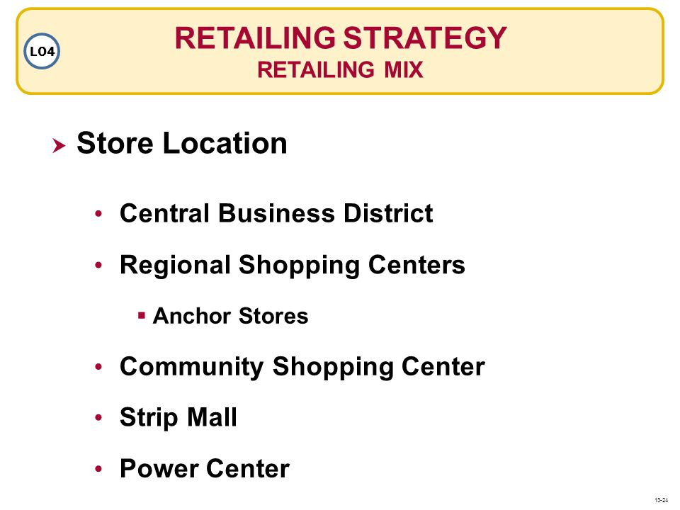 RETAILING STRATEGY RETAILING MIX LO4 Store Location Regional Shopping Centers Central Business District Anchor Stores Strip Mall Community Shopping Ce