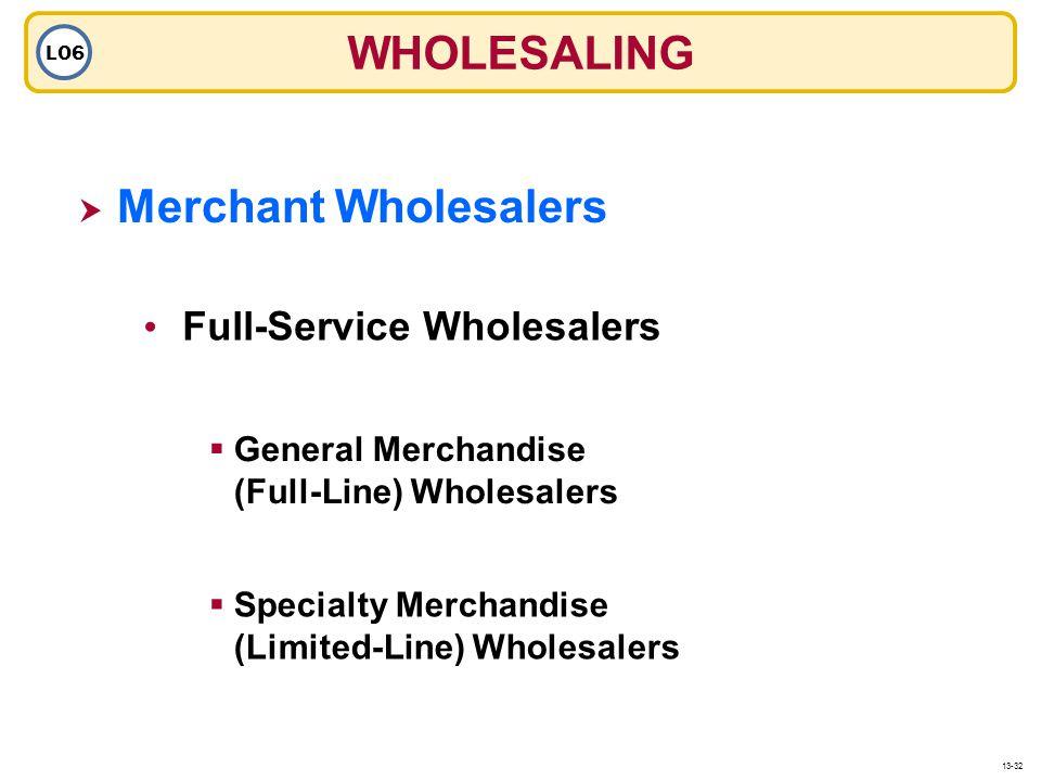 Merchant Wholesalers Full-Service Wholesalers General Merchandise (Full-Line) Wholesalers Specialty Merchandise (Limited-Line) Wholesalers WHOLESALING