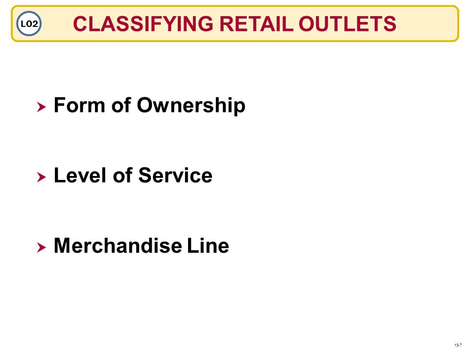 CLASSIFYING RETAIL OUTLETS LO2 Level of Service Form of Ownership Merchandise Line 13-7