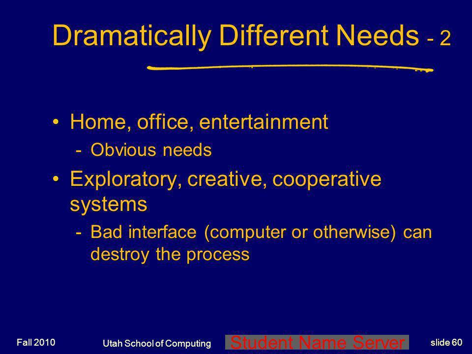 Student Name Server Utah School of Computing slide 59 Fall 2010 Dramatically Different Needs - 1 Life-critical systemsLife-critical systems -Air traff