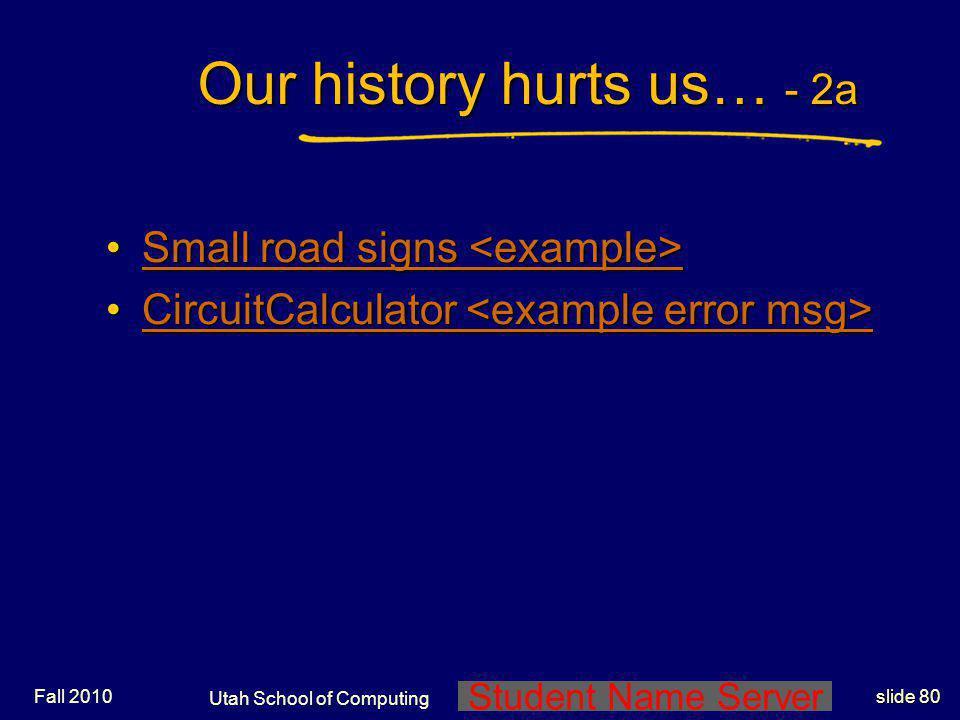 Utah School of Computing End of Lecture Set 1 Preliminaries End Lec Set 1