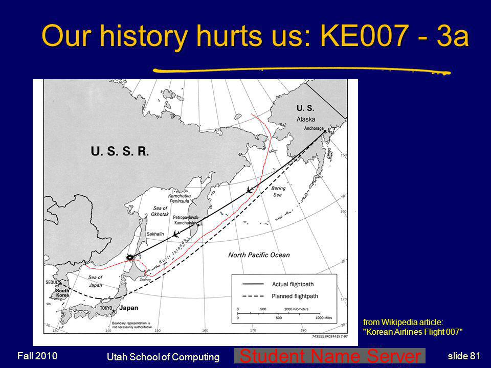Student Name Server Utah School of Computing slide 80 Fall 2010 Our history hurts us… - 2a Small road signs Small road signs Small road signs Small ro