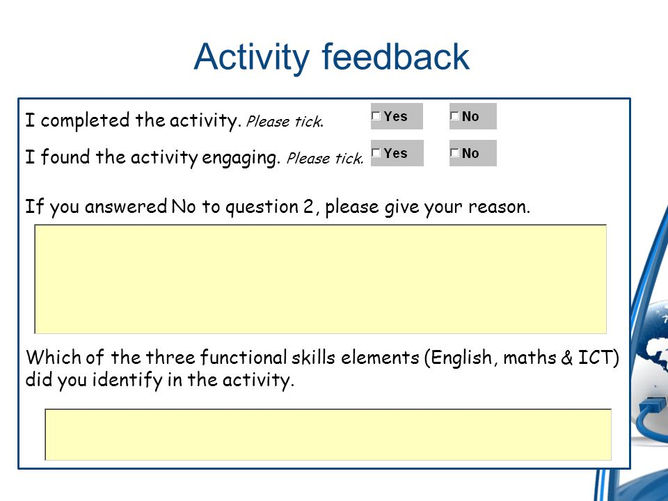 Activity feedback I completed the activity. Please tick.