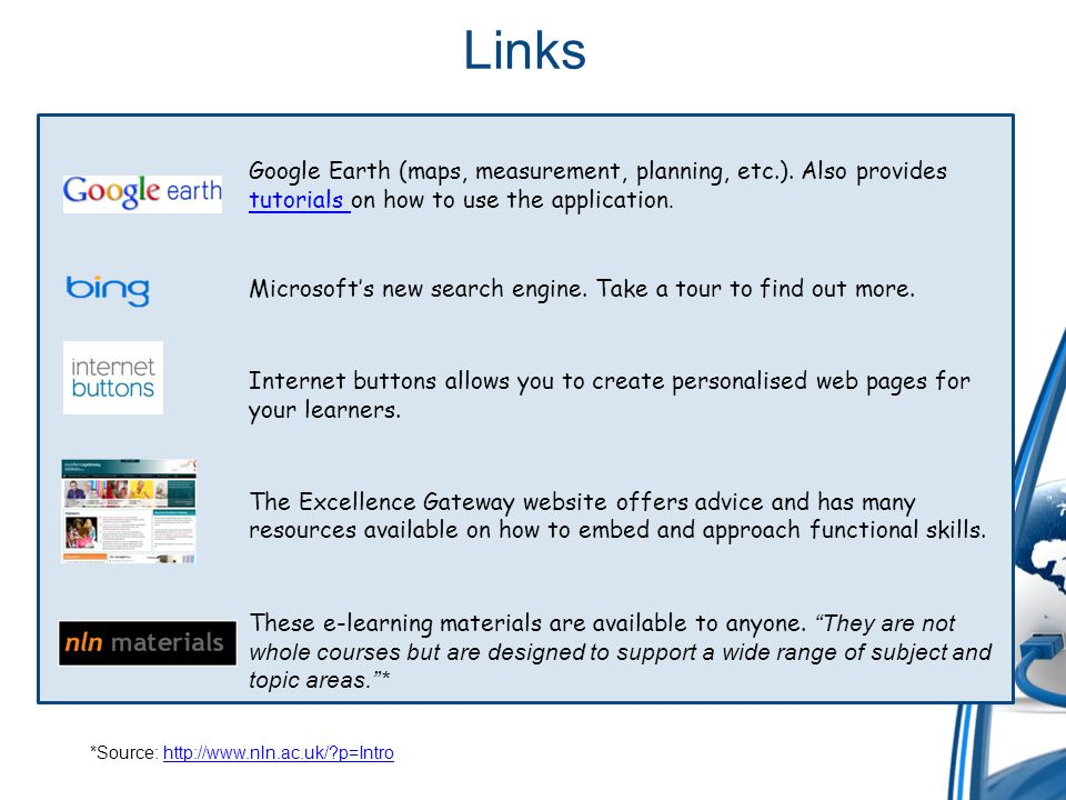 Links Google Earth (maps, measurement, planning, etc.). Also provides tutorials on how to use the application. tutorials Microsofts new search engine.