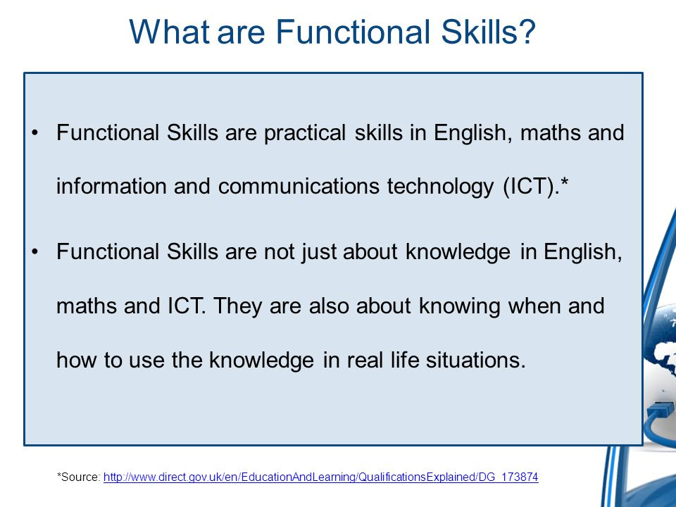 Functional Skills in context Functional Skills can be imbedded in any subjects.