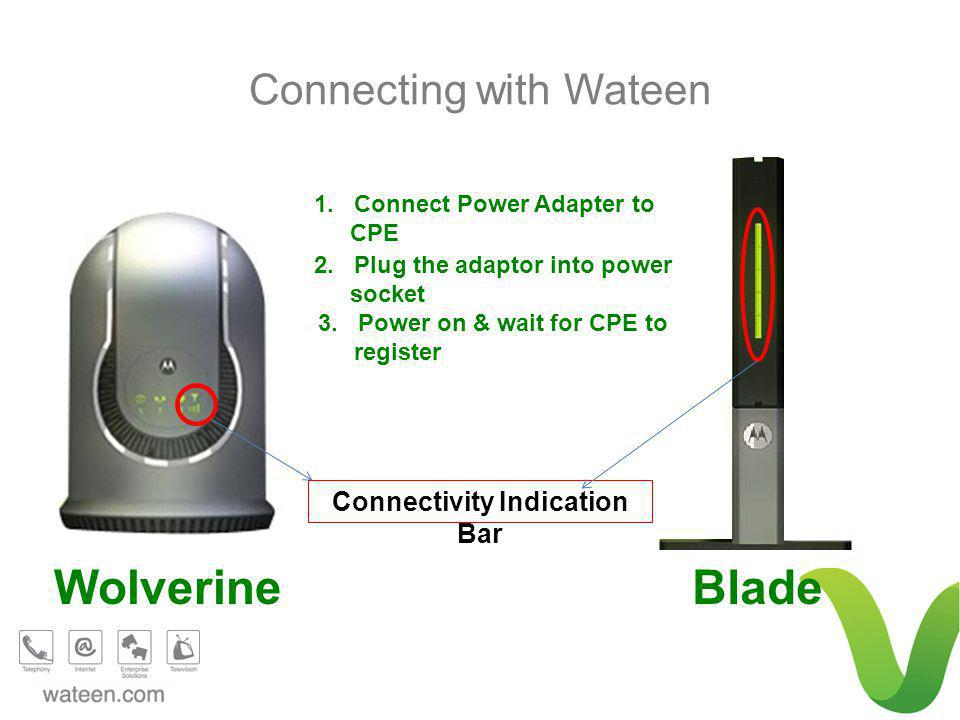 BladeWolverine 1. Connect Power Adapter to CPE Connectivity Indication Bar 2.