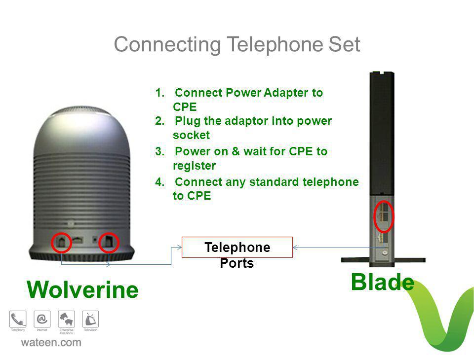 Blade Wolverine Telephone Ports Connecting Telephone Set 1. Connect Power Adapter to CPE 2. Plug the adaptor into power socket 3. Power on & wait for