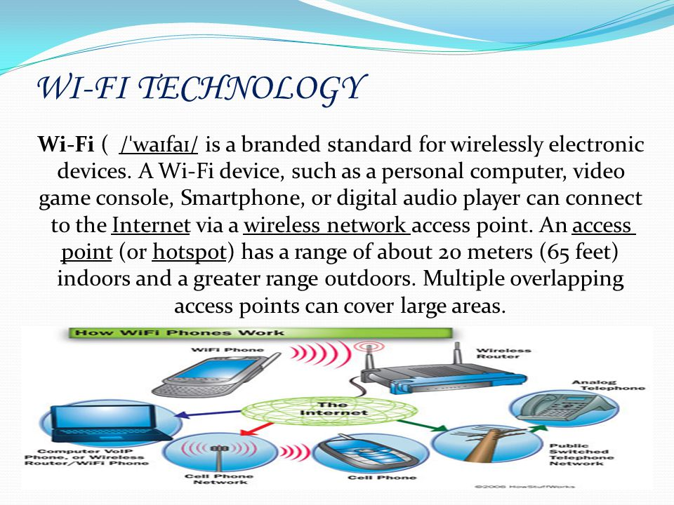 WI-FI TECHNOLOGY Wi-Fi ( / ˈ wa ɪ fa ɪ / is a branded standard for wirelessly electronic devices. A Wi-Fi device, such as a personal computer, video g