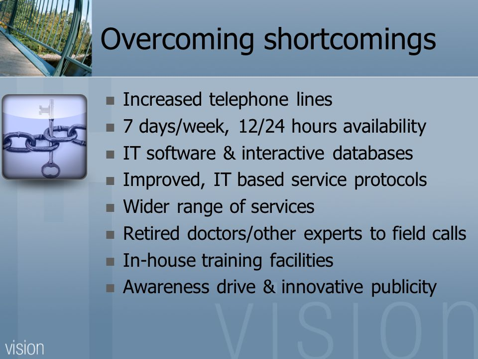 Overcoming shortcomings Increased telephone lines 7 days/week, 12/24 hours availability IT software & interactive databases Improved, IT based service protocols Wider range of services Retired doctors/other experts to field calls In-house training facilities Awareness drive & innovative publicity