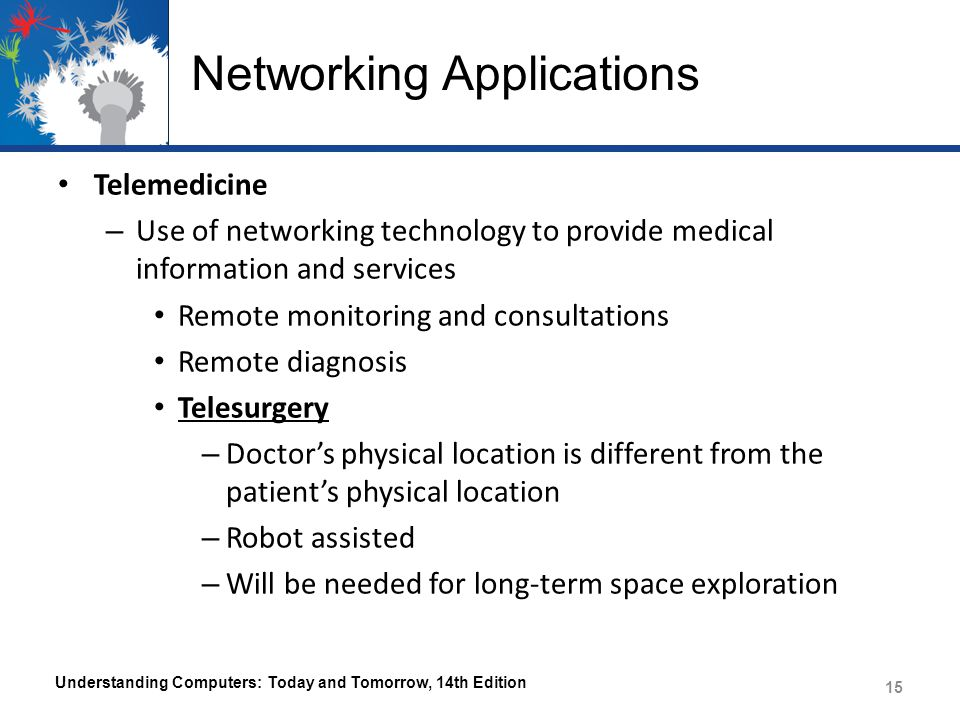 Networking Applications Telemedicine – Use of networking technology to provide medical information and services Remote monitoring and consultations Re