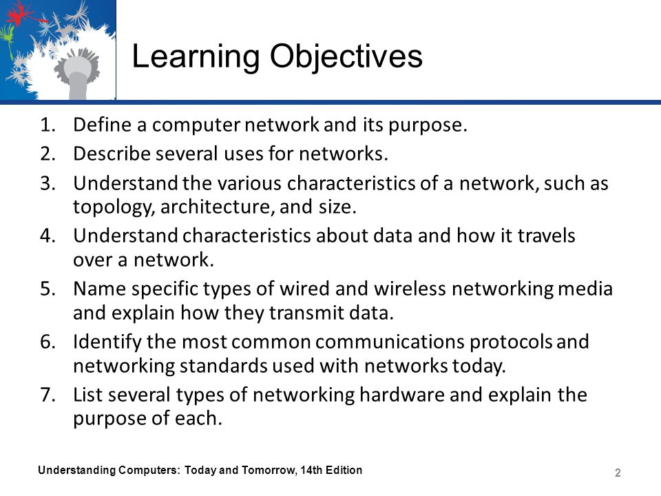 Learning Objectives 1.Define a computer network and its purpose. 2.Describe several uses for networks. 3.Understand the various characteristics of a n