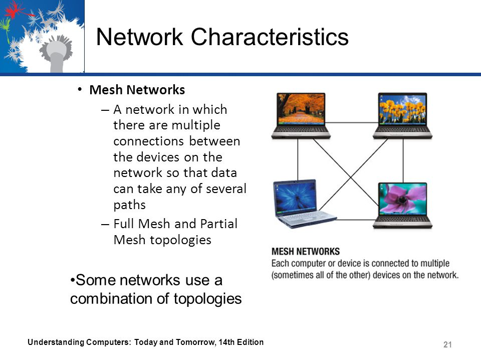 Network Characteristics Mesh Networks – A network in which there are multiple connections between the devices on the network so that data can take any