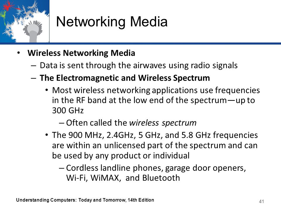 Networking Media Wireless Networking Media – Data is sent through the airwaves using radio signals – The Electromagnetic and Wireless Spectrum Most wi