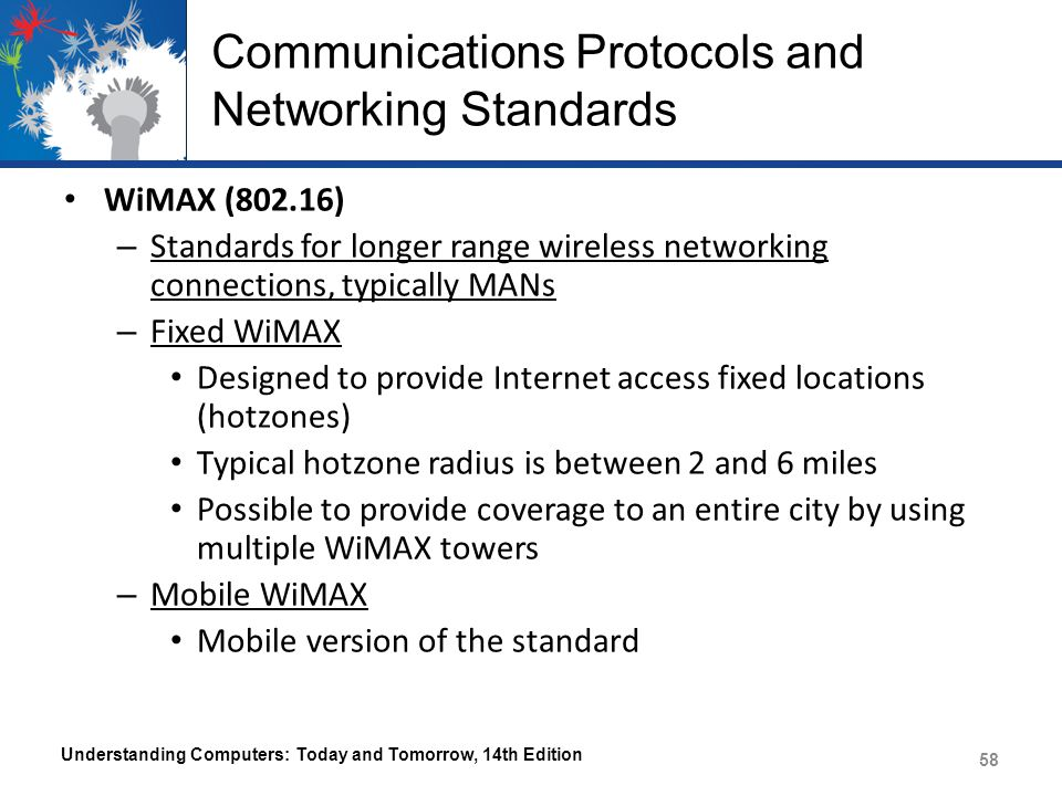 Communications Protocols and Networking Standards WiMAX (802.16) – Standards for longer range wireless networking connections, typically MANs – Fixed