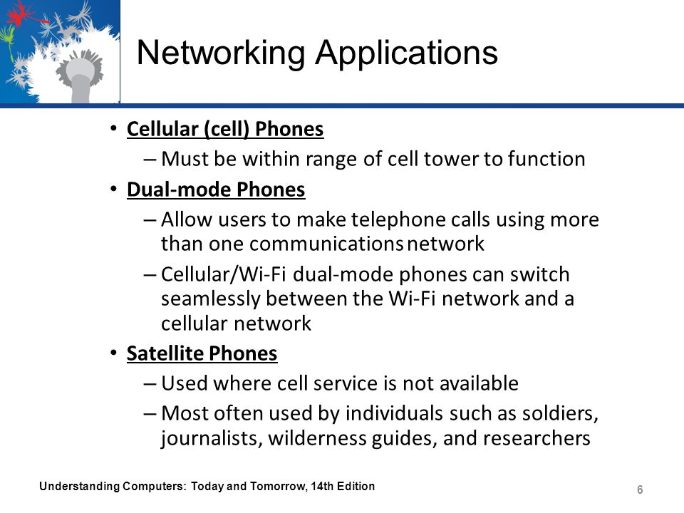 Networking Applications Cellular (cell) Phones – Must be within range of cell tower to function Dual-mode Phones – Allow users to make telephone calls