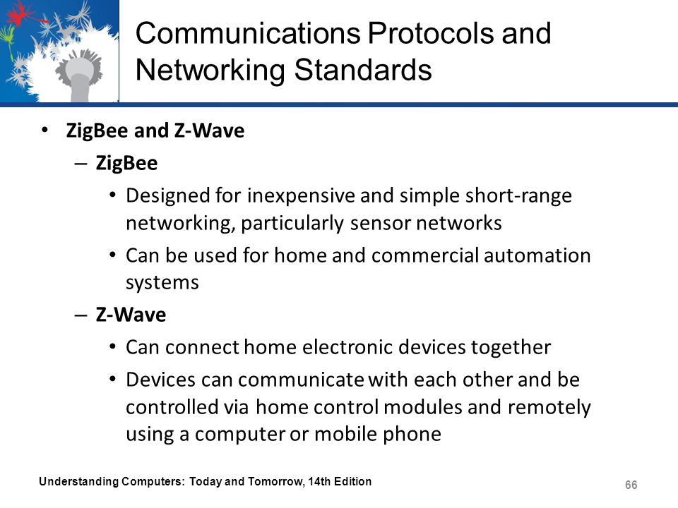 Communications Protocols and Networking Standards ZigBee and Z-Wave – ZigBee Designed for inexpensive and simple short-range networking, particularly