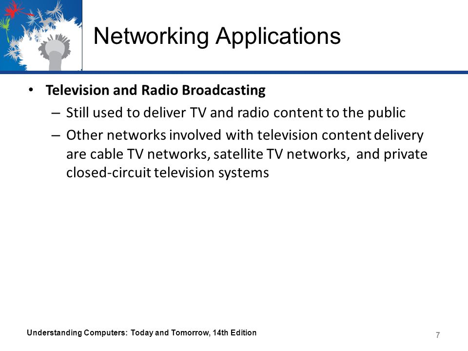 Networking Applications Global Positioning System (GPS) Applications – Uses satellites and a receiver to determine the exact geographic location of the receiver – Commonly used by individuals to determine their exact location – Used on the job by surveyors, farmers, and fishermen – Used to guide vehicles and equipment – Used by the military to guide munitions and trucks, and to track military aircraft, ships, and submarines – Geocaching Understanding Computers: Today and Tomorrow, 14th Edition 8