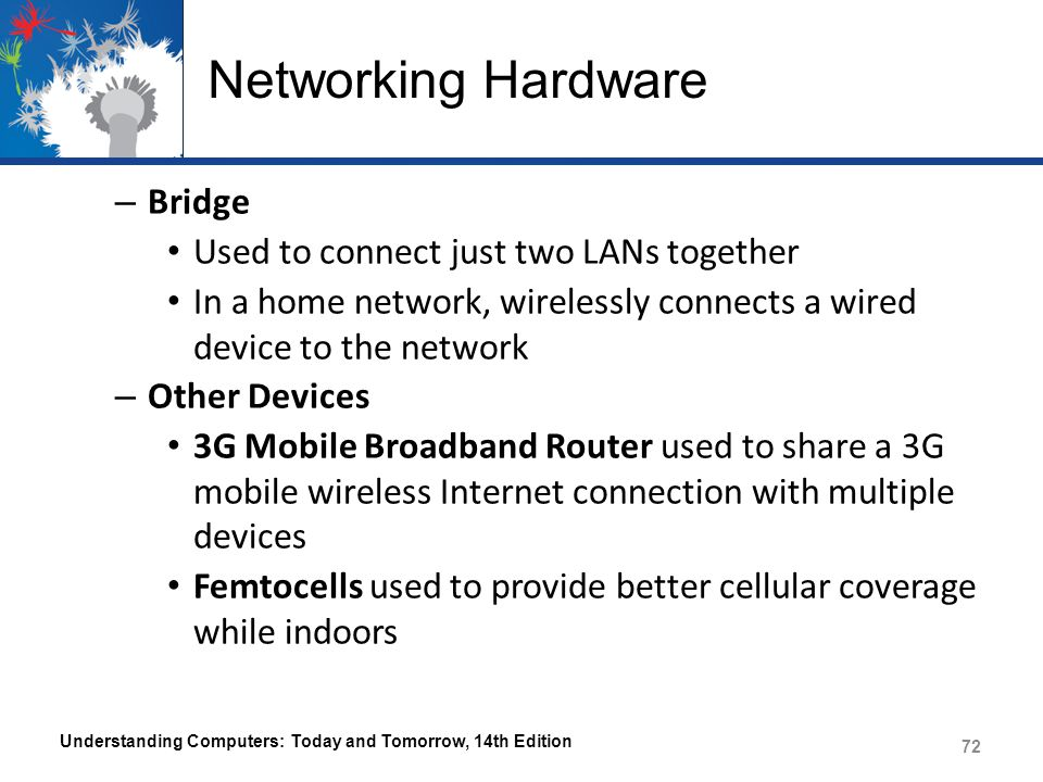 Networking Hardware – Bridge Used to connect just two LANs together In a home network, wirelessly connects a wired device to the network – Other Devic
