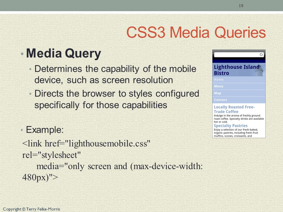 Copyright © Terry Felke-Morris CSS3 Media Queries Media Query Determines the capability of the mobile device, such as screen resolution Directs the browser to styles configured specifically for those capabilities Example: 18