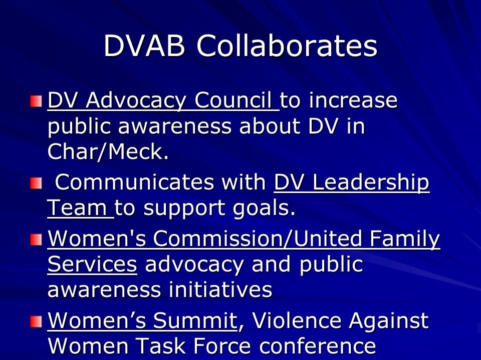 DVAB Collaborates DV Advocacy Council to increase public awareness about DV in Char/Meck.
