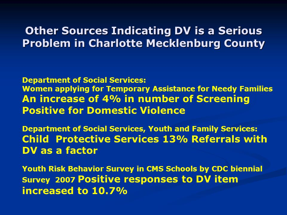 Other Sources Indicating DV is a Serious Problem in Charlotte Mecklenburg County Department of Social Services: Women applying for Temporary Assistance for Needy Families An increase of 4% in number of Screening Positive for Domestic Violence Department of Social Services, Youth and Family Services: Child Protective Services 13% Referrals with DV as a factor Youth Risk Behavior Survey in CMS Schools by CDC biennial Survey 2007 Positive responses to DV item increased to 10.7%