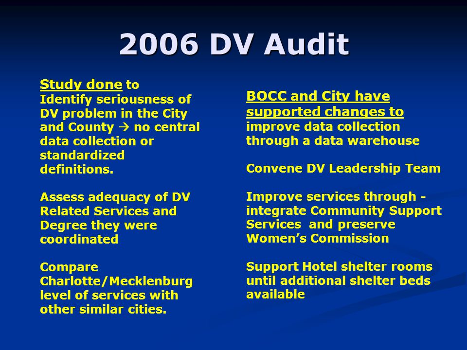 2006 DV Audit Study done to Identify seriousness of DV problem in the City and County no central data collection or standardized definitions.