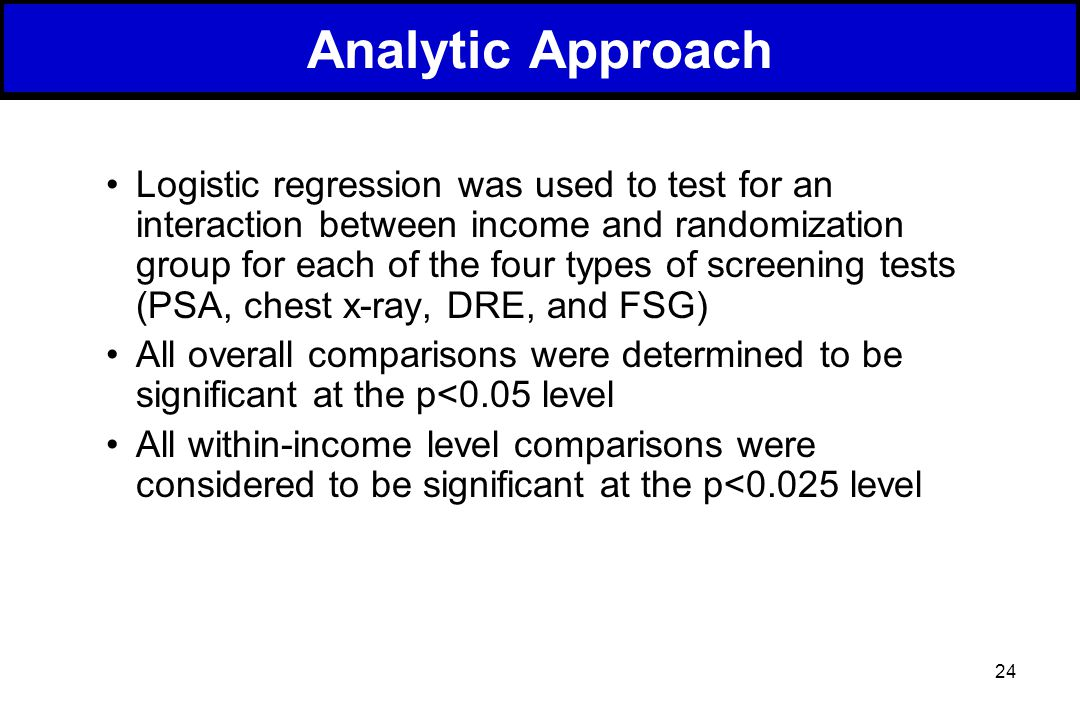 24 Analytic Approach Logistic regression was used to test for an interaction between income and randomization group for each of the four types of screening tests (PSA, chest x-ray, DRE, and FSG) All overall comparisons were determined to be significant at the p<0.05 level All within-income level comparisons were considered to be significant at the p<0.025 level