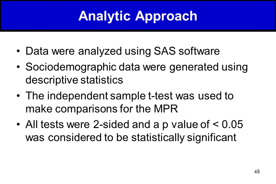 45 Data were analyzed using SAS software Sociodemographic data were generated using descriptive statistics The independent sample t-test was used to make comparisons for the MPR All tests were 2-sided and a p value of < 0.05 was considered to be statistically significant Analytic Approach