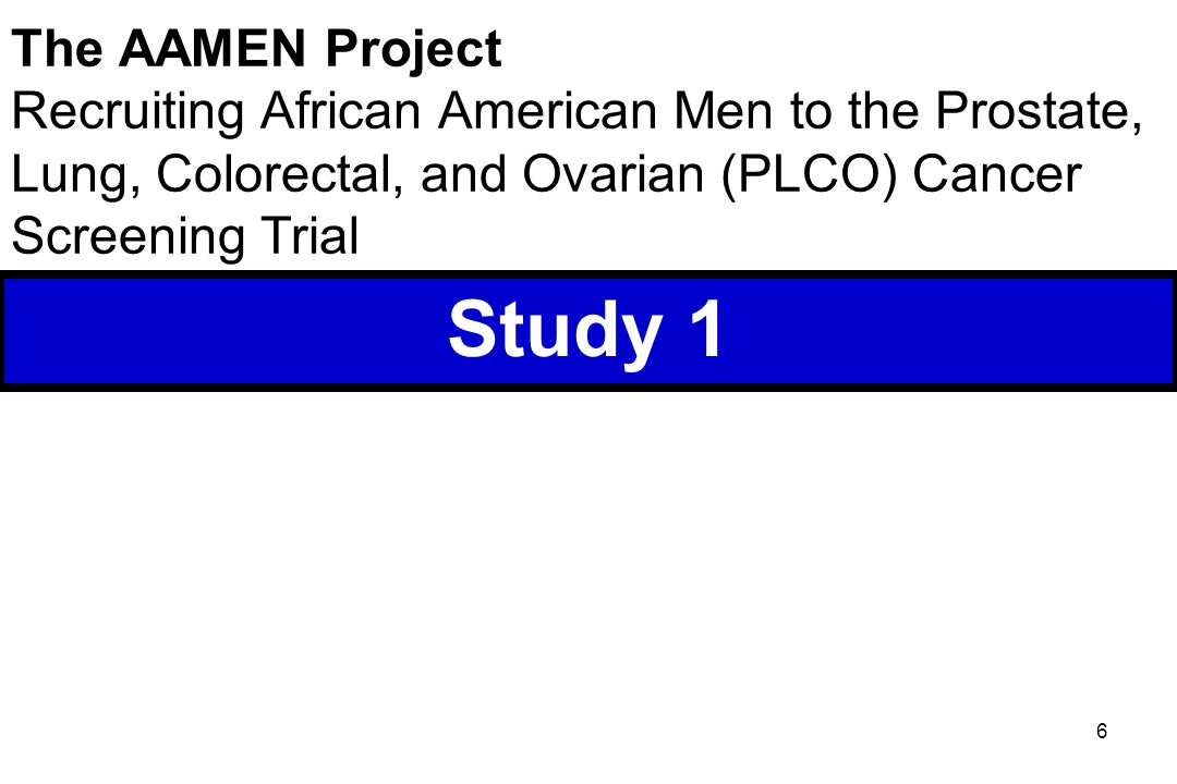 6 The AAMEN Project Recruiting African American Men to the Prostate, Lung, Colorectal, and Ovarian (PLCO) Cancer Screening Trial Study 1