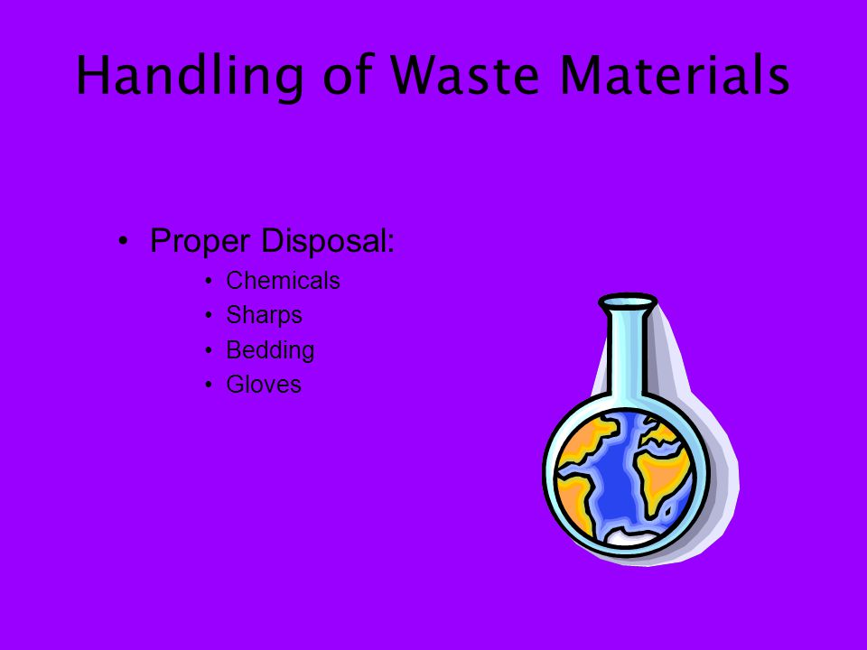 Handling of Waste Materials Proper Disposal: Chemicals Sharps Bedding Gloves