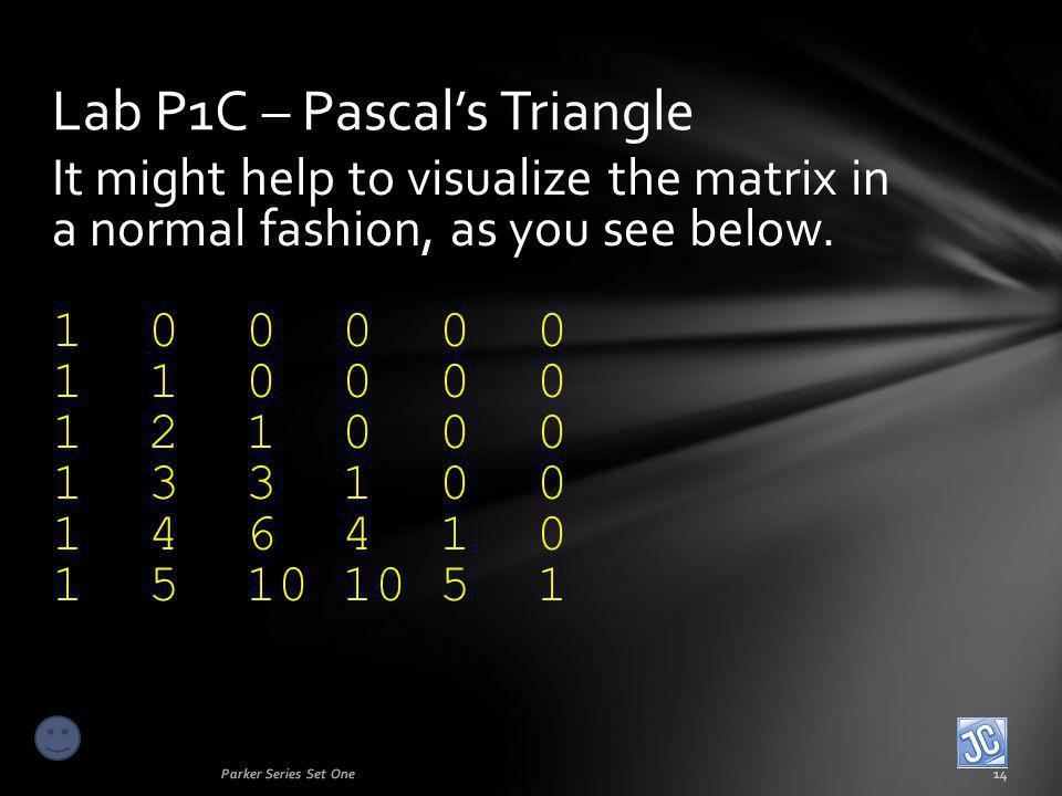 It might help to visualize the matrix in a normal fashion, as you see below. 1 0 0 0 0 0 1 1 0 0 0 0 1 2 1 0 0 0 1 3 3 1 0 0 1 4 6 4 1 0 1 5 10 10 5 1