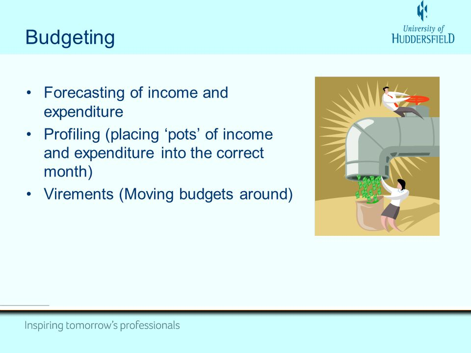 Budgeting Forecasting of income and expenditure Profiling (placing pots of income and expenditure into the correct month) Virements (Moving budgets around)