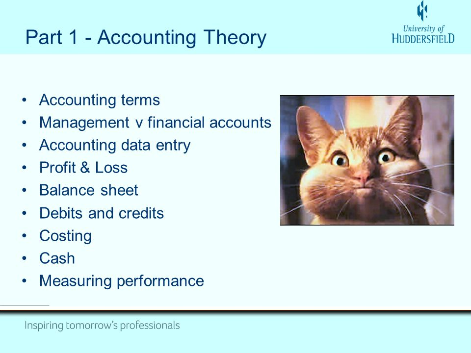 Part 1 - Accounting Theory Accounting terms Management v financial accounts Accounting data entry Profit & Loss Balance sheet Debits and credits Costing Cash Measuring performance
