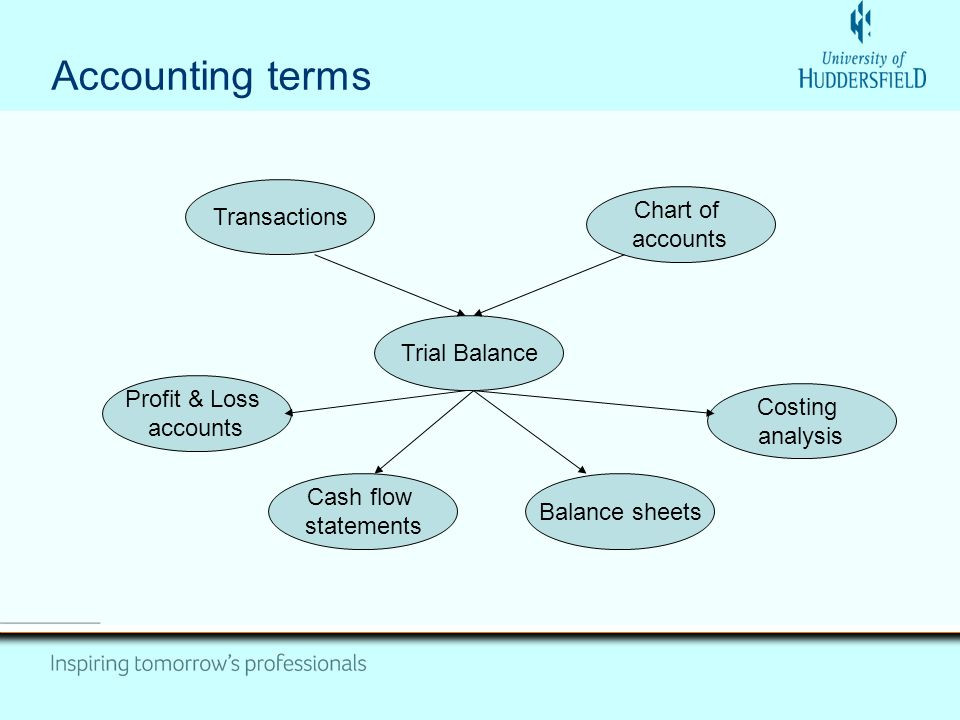 Accounting terms Trial Balance Transactions Profit & Loss accounts Cash flow statements Balance sheets Costing analysis Chart of accounts