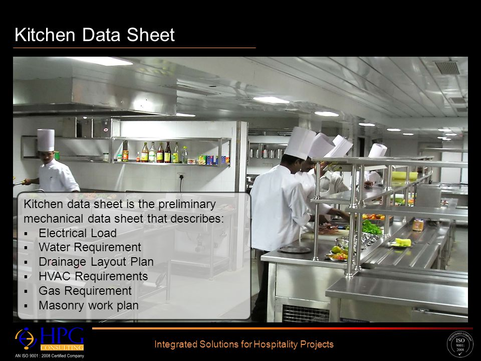 Click to edit Master text styles – Second level Third level – Fourth level » Fifth level Kitchen Data Sheet Integrated Solutions for Hospitality Proje