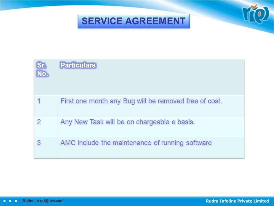 Mailto: rixpl@live.com SERVICE AGREEMENT