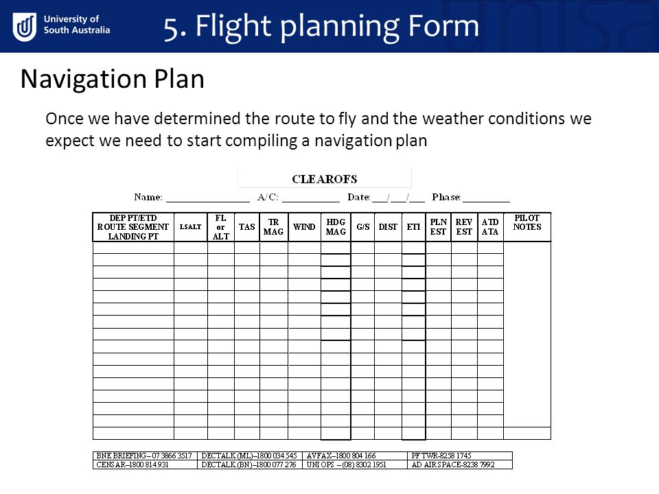 5. Flight planning Form Once we have determined the route to fly and the weather conditions we expect we need to start compiling a navigation plan Nav