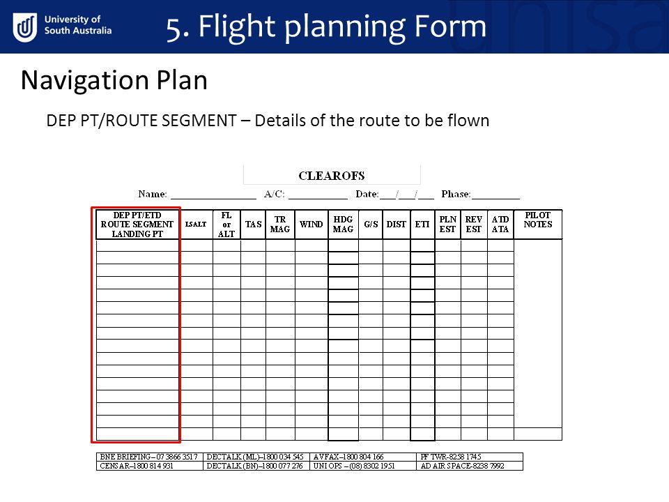 DEP PT/ROUTE SEGMENT – Details of the route to be flown Navigation Plan 5. Flight planning Form