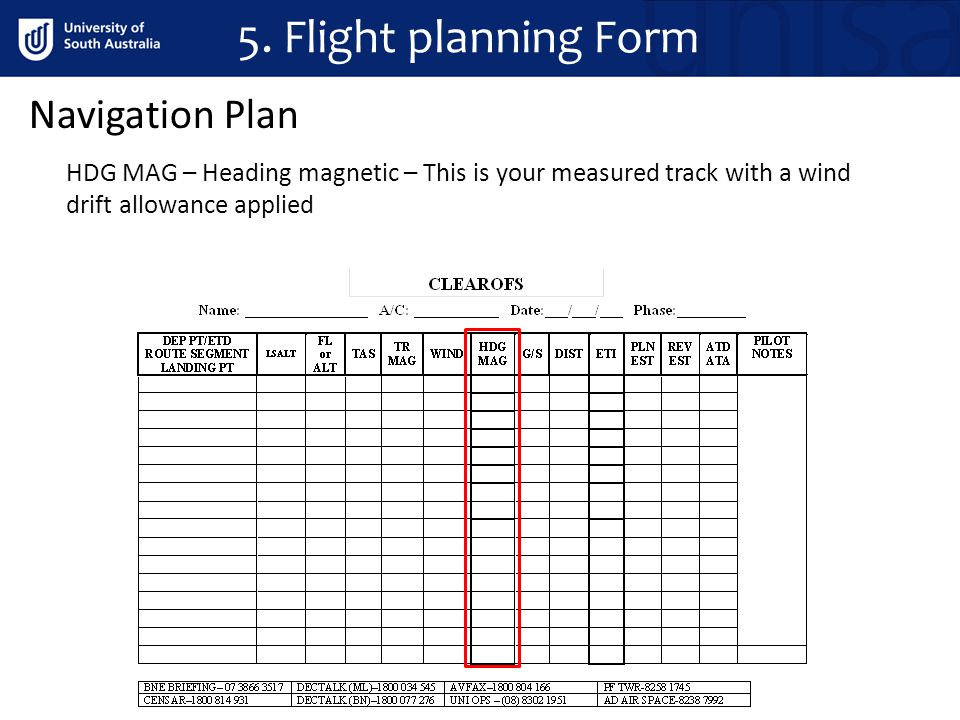 Navigation Plan HDG MAG – Heading magnetic – This is your measured track with a wind drift allowance applied 5. Flight planning Form