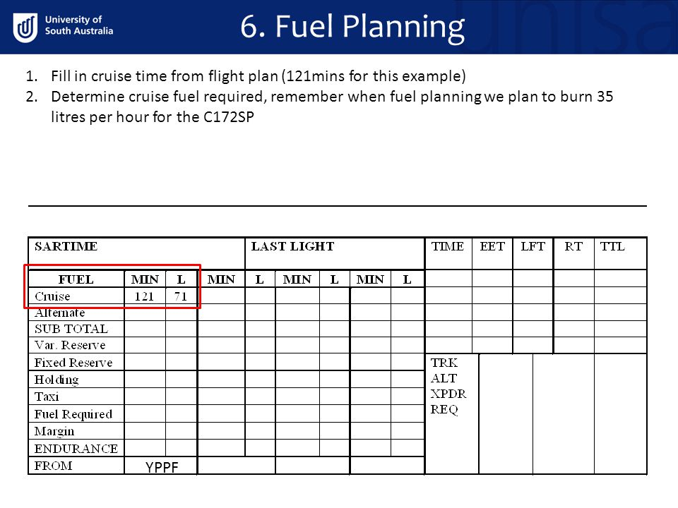 1.Fill in cruise time from flight plan (121mins for this example) 2.Determine cruise fuel required, remember when fuel planning we plan to burn 35 lit