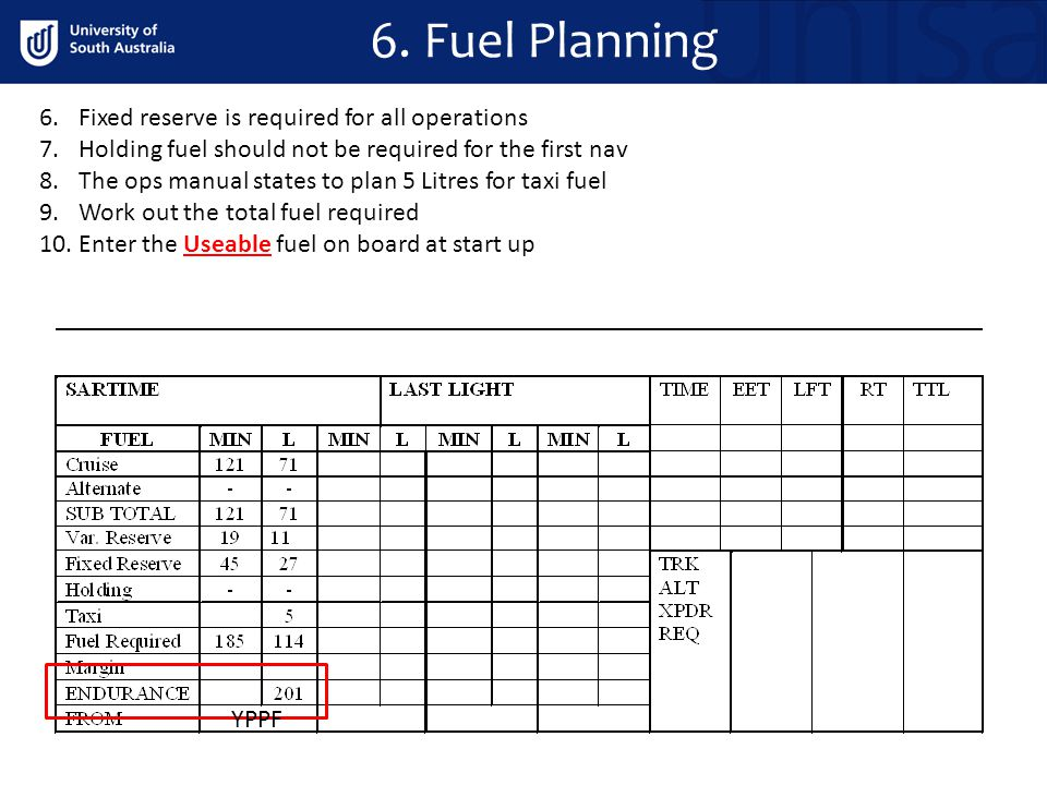 6.Fixed reserve is required for all operations 7.Holding fuel should not be required for the first nav 8.The ops manual states to plan 5 Litres for ta
