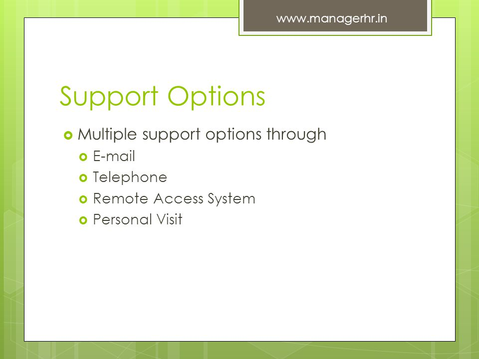 Support Options Multiple support options through E-mail Telephone Remote Access System Personal Visit www.managerhr.in