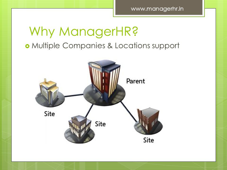 Why ManagerHR? Multiple Companies & Locations support www.managerhr.in